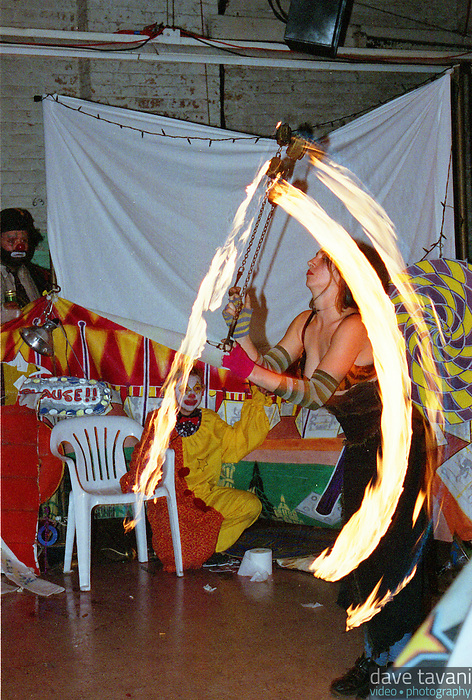 A fire juggler performs at a venue in the warehouse district of New Orleans, Louisiana.
