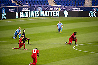 HARRISON, NJ - SEPTEMBER 23: HARRISON, NJ - Wednesday, September 23, 2020: Jozy Altidore, Black Lives Matter LEDs during a game between New York City FC and Toronto FC on September 23, 2020 at Red Bull Arena in Harrison, New Jersey during a game between Toronto FC and New York City FC at Red Bull Arena on September 23, 2020 in Harrison, New Jersey.