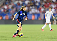 FRISCO, TX - MARCH 11: Tobin Heath #17 of the United States brings the ball up the field against Japan during a game between Japan and USWNT at Toyota Stadium on March 11, 2020 in Frisco, Texas.