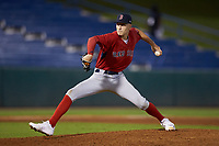 Pitcher Rafe Schlesinger (28) of Sachern East HS in Holbrook, NY playing for the Boston Red Sox scout team during the East Coast Pro Showcase at the Hoover Met Complex on August 2, 2020 in Hoover, AL. (Brian Westerholt/Four Seam Images)