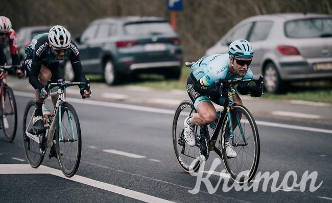 Magnus Cort Nielsen (DEN/Astana) & friends speeding down the Nieuwe Kwaremont<br /> <br /> 71th Kuurne-Brussel-Kuurne 2019 <br /> Kuurne to Kuurne (BEL): 201km<br /> <br /> ©kramon