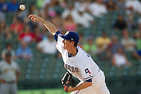 Round Rock Express pitcher Scott Richmond (55) delivers a pitch to the plate during the Pacific Coast League baseball game against the Salt Lake Bees on August 10, 2013 at the Dell Diamond in Round Rock, Texas. Round Rock defeated Salt Lake 9-6. (Andrew Woolley/Four Seam Images)