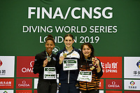 Women's 3m Springboard medallists Nur Dhabitah Binti Sabri (Bronze) Jennifer Abel (Silver) and Maddison Keeney (Gold)<br /> <br /> Photographer Hannah Fountain/CameraSport<br /> <br /> FINA/CNSG Diving World Series 2019 - Day 3 - Sunday 19th May 2019 - London Aquatics Centre - Queen Elizabeth Olympic Park - London<br /> <br /> World Copyright © 2019 CameraSport. All rights reserved. 43 Linden Ave. Countesthorpe. Leicester. England. LE8 5PG - Tel: +44 (0) 116 277 4147 - admin@camerasport.com - www.camerasport.com