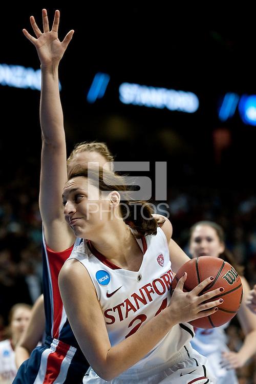 SPOKANE, WA - MARCH 28, 2011: Ashley Cimino, Jeanette Pohlen, Kayla Pedersen, Stanford Women's Basketball vs Gonzaga, NCAA West Regional Finals at the Spokane Arena on March 28, 2011.