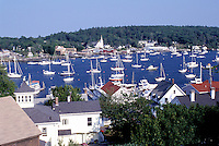 Boothbay Harbor, Maine, ME, Scenic view of the bay and town of Boothbay Harbor.