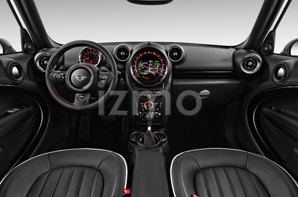 Stock photo of straight dashboard view of 2016 MINI Countryman Cooper-S 5 Door Hatchback Dashboard