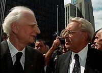 Roger Taillibert et Pierre Lorange aux Funerailles de Jean Drapeau, le 13 aout 1999<br /> a la Basilique Notre-Dame.<br /> <br /> PHOTO :  Agence Quebec Presse