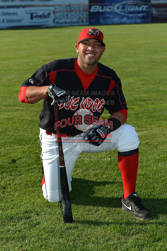 Batavia Muckdogs catcher Jose Ceballos (32) poses for a photo before a game against the Williamsport Crosscutters on September 4, 2013 at Dwyer Stadium in Batavia, New York.  Williamsport defeated Batavia 6-3 in both teams season finale.  (Mike Janes/Four Seam Images)