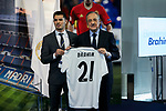Florentino Perez and Brahim Diaz during his official presentation as Real Madrid's football player at Santiago Bernabeu Stadium in Madrid, Spain. January 07, 2019. (ALTERPHOTOS/A. Perez Meca)
