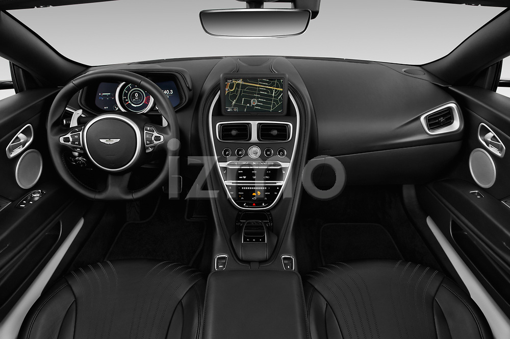 Stock photo of straight dashboard view of 2018 Aston Martin DB11-Volante - 2 Door Convertible Dashboard