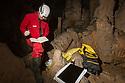 Researcher surveying cave biota. Postojna Cave, Slovenia. March.