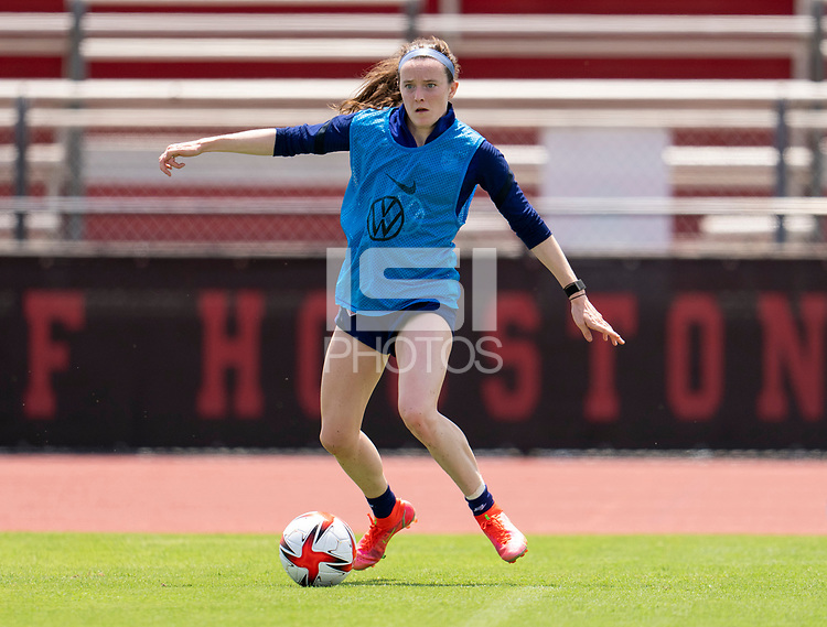 HOUSTON, TX - JUNE 8: Rose Lavelle #16 of the USWNT dribbles the ball during a training session at the University of Houston on June 8, 2021 in Houston, Texas.