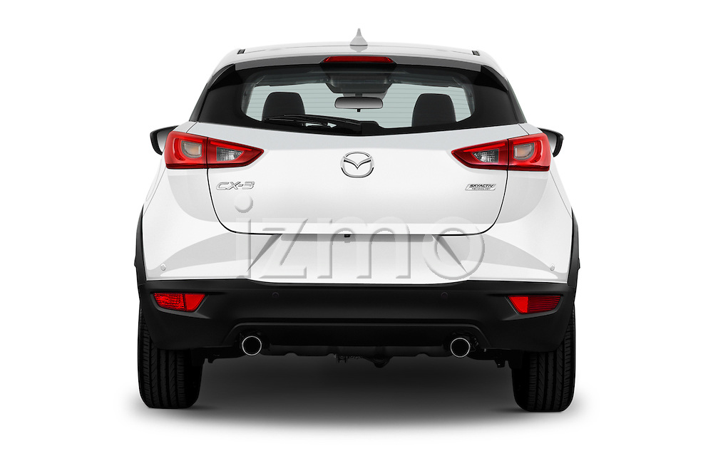 Straight rear view of 2015 Mazda CX-3 Pure Edition 5 Door Suv Rear View  stock images