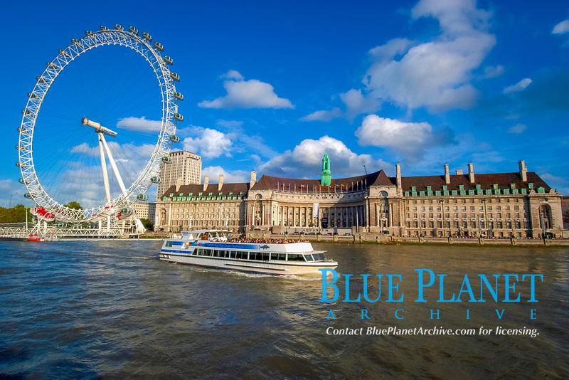 London Eye and Dalí Museum on Thames river, London, England, United Kingdom