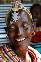 KENYA, Marsabit, Samburu village Merille, Rapunye Ntumo a women self help group / KENIA, Marsabit, Samburu Dorf Merille, Rapunye Ntumo Frauen Selbsthilfegruppe hat durch Hilfe von world vision und GIZ eine Kleinanlage zur Aufbereitung von Milch und zur Joghurtherstellung erhalten, Frau Ntina Lataraja, 39 Jahre