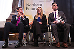 © Joel Goodman - 07973 332324 . NO SYNDICATION PERMITTED . 06/11/2014 . Leeds , UK . The Deputy Prime Minister Nick Clegg (left) applauds Year 13 students Freya Tweedy (centre) and Sam Simkins (right) of Abbey Grange Academy in Leeds , after they addressed the Northern Futures Summit in Leeds this morning (Thursday 6th November 2014) .  . Photo credit : Joel Goodman