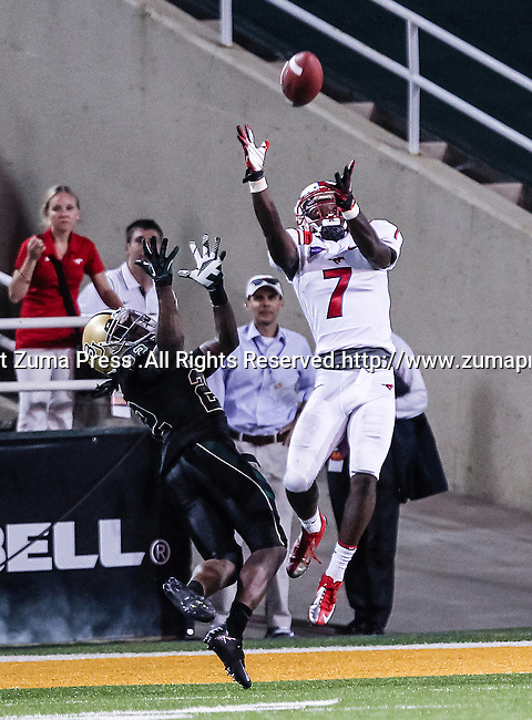 Southern Methodist Mustangs wide receiver Der'rikk Thompson (7) and Baylor Bears cornerback Joe Williams (22) in action during the game between the Southern Methodist Mustangs and the Baylor Bears at the Floyd Casey Stadium in Waco, Texas. Baylor defeats SMU 59 to 24.