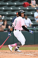 Hickory Crawdads shortstop Jonathan Ornelas (3) bats during the game with the Charleston Riverdogs at L.P. Frans Stadium on May 12, 2019 in Hickory, North Carolina.  The Riverdogs defeated the Crawdads 13-5. (Tracy Proffitt/Four Seam Images)
