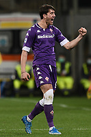 Dusan Vlahovic of ACF Fiorentina celebrates after scoring a goal during the Serie A football match between ACF Fiorentina and Spezia Calcio at Artemio Franchi stadium in Firenze (Italy), February 19, 2021. Photo Image Sport / Insidefoto