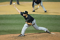 Wake Forest Demon Deacons relief pitcher Colin Peluse (8) delivers a pitch to the plate against the West Virginia Mountaineers in Game Six of the Winston-Salem Regional in the 2017 College World Series at David F. Couch Ballpark on June 4, 2017 in Winston-Salem, North Carolina.  The Demon Deacons defeated the Mountaineers 12-8.  (Brian Westerholt/Four Seam Images)