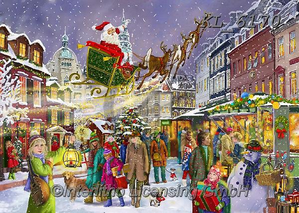 Interlitho-Franco, CHRISTMAS SANTA, SNOWMAN, WEIHNACHTSMÄNNER, SCHNEEMÄNNER, PAPÁ NOEL, MUÑECOS DE NIEVE, paintings+++++,santa, village,marketplace,KL6170,#x#,puzzle,puzzles