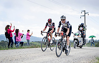 """Eventual stage winner Mauro Schmid (SUI/Qhubeka ASSOS) leading a breakaway trio over the final gravel sector with 9km to go with Alessandro Covi (ITA/UAE-Emirates) & Belgian National Champion Dries De Bondt (BEL/Alpecin-Fenix) in tow.<br /> <br /> 104th Giro d'Italia 2021 (2.UWT)<br /> Stage 11 from Perugia to Montalcino (162km)<br /> """"the Strade Bianche stage""""<br /> <br /> ©kramon"""