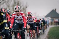 Tiesj Benoot (BEL/Lotto-Soudal) over the 'Haaghoek' cobbles section<br /> <br /> 74th Omloop Het Nieuwsblad 2019 <br /> Gent to Ninove (BEL): 200km<br /> <br /> ©kramon
