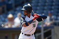 Pedro Florimon (18) of the Gwinnett Stripers at bat against the Scranton/Wilkes-Barre RailRiders at Coolray Field on August 18, 2019 in Lawrenceville, Georgia. The RailRiders defeated the Stripers 9-3. (Brian Westerholt/Four Seam Images)