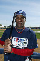 February 10 2008: Jamal Frazier participates in a MLB pre draft workout for high school players at the Urban Youth Academy in Compton,CA.  Photo by Larry Goren/Four Seam Images