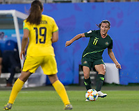 GRENOBLE, FRANCE - JUNE 18: Lisa De Vanna #11 of the Australian National Team passes the ball during a game between Jamaica and Australia at Stade des Alpes on June 18, 2019 in Grenoble, France.