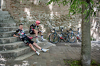 """Hugh Carthy (GBR/EF Education - Nippo) & Jens Keukeleire (BEL/EF Education - Nippo) relaxing by the roadside at the race start in Perugia<br /> <br /> 104th Giro d'Italia 2021 (2.UWT)<br /> Stage 11 from Perugia to Montalcino (162km)<br /> """"the Strade Bianche stage""""<br /> <br /> ©kramon"""
