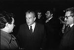 PIETRO INGRAO AL TEATRO TENDA ROMA 1977<br /> SULLO SFONDO WALTER VELTRONI ED ETTORE SCOLA