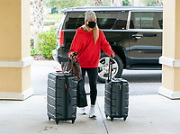 ORLANDO, FL - FEBRUARY 8: Lindsey Horan #9 of the USWNT arrives at the team hotel on February 8, 2021 in Orlando, Florida.