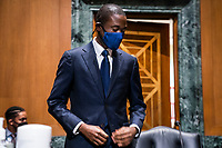 Economist Adewale O. Adeyemo prepare to testify before the Senate Finance Committee during his confirmation hearing to be Deputy Secretary of the Treasury in the Dirksen Senate Office Building in Washington, DC, USA, 23 February 2021.<br /> Credit: Jim LoScalzo / Pool via CNP /MediaPunch