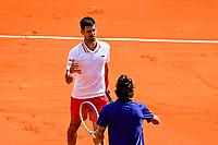5th June 2021; Roland Garros, Paris France; French Open tennis championships day 9;  Novak Djokovic (Srb)<br /> Lorenzo Musetti (Ita)