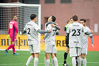 FOXBOROUGH, MA - APRIL 17: Players celebrate Jonathan Bolanos #17 of Richmond Kickers' goal during a game between Richmond Kickers and Revolution II at Gillette Stadium on April 17, 2021 in Foxborough, Massachusetts.