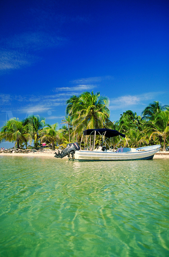 South Water Caye a private small island near Dangriga, Belize. South Water Caye, Belize Central America.