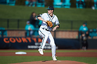 Coastal Carolina Chanticleers starting pitcher Scott Kobos (18) in action against the Illinois Fighting Illini at Springs Brooks Stadium on February 22, 2020 in Conway, South Carolina. The Fighting Illini defeated the Chanticleers 5-2. (Brian Westerholt/Four Seam Images)