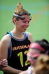 FRANKFURT AM MAIN, GERMANY - April 14: Eva Schulte #12 of Germany before the Deutschland Lacrosse International Tournament match between Germany vs Austria on April 14, 2013 in Frankfurt am Main, Germany. Germany won, 10-4. (Photo by Dirk Markgraf)