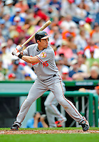24 May 2009: Baltimore Orioles' catcher Chad Moeller in action against the Washington Nationals at Nationals Park in Washington, DC. The Nationals rallied to defeat the Orioles 8-5 and salvage a win in their interleague series. Mandatory Credit: Ed Wolfstein Photo