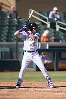 Salt River Rafters third baseman Tyler Nevin (2), of the Colorado Rockies organization, at bat during an Arizona Fall League game against the Glendale Desert Dogs at Salt River Fields at Talking Stick on October 31, 2018 in Scottsdale, Arizona. Glendale defeated Salt River 12-6 in extra innings. (Zachary Lucy/Four Seam Images)