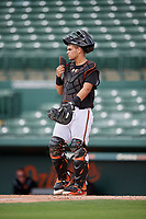GCL Orioles catcher Jose Montanez (31) during the first game of a doubleheader against the GCL Twins on August 1, 2018 at CenturyLink Sports Complex Fields in Fort Myers, Florida.  GCL Twins defeated GCL Orioles 7-6 in the completion of a suspended game originally started on July 31st, 2018.  (Mike Janes/Four Seam Images)