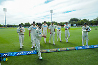 NZ captain Kane Williamson leads his victorious team off the field during day four of the second International Test Cricket match between the New Zealand Black Caps and Pakistan at Hagley Oval in Christchurch, New Zealand on Wednesday, 6 January 2021. Photo: Dave Lintott / lintottphoto.co.nz