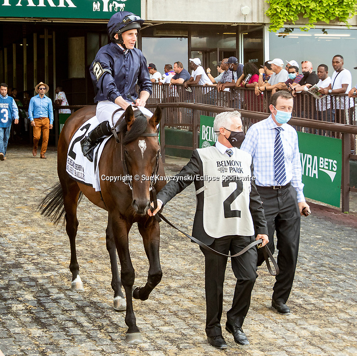 JULY 10, 2021: Bolshoi Ballet (IRE) post parade in the Gr.1 Belmont Derby Invitational Stakes, going 1 1/4 mile on the turf, at Belmont Park in Elmont, New York. Sue Kawczynski/Eclipse Sportswire/CSM
