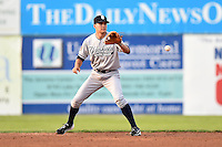 Staten Island Yankees second baseman Ty McFarland (14) fields a ball during a game against the Batavia Muckdogs on August 6, 2014 at Dwyer Stadium in Batavia, New York.  Batavia defeated Staten Island 5-3.  (Mike Janes/Four Seam Images)