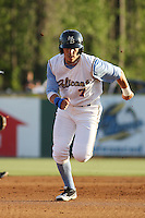 Myrtle Beach Pelicans outfielder Jake Skole #7 running the bases during a game against the Wilmington Blue Rocks at Tickerreturn.com Field at Pelicans Ballpark on April 8, 2012 in Myrtle Beach, South Carolina. Wilmington defeated Myrtle Beach by the score of 3-2. (Robert Gurganus/Four Seam Images)