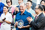 Trainer John Moore (C) poses for photo with trophy after Jockey Zac Purton, who rode #1 Beauty Generation (not in picture), winning the celebration cup (Handicap) during Hong Kong Racing at Sha Tin Racecourse on October 01, 2018 in Hong Kong, Hong Kong. Photo by Yu Chun Christopher Wong / Power Sport Images