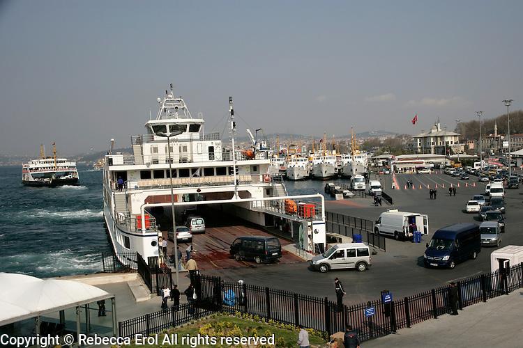 Car ferry loading at Sirkeci, Istanbul, Turkey