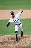 Princeton Rays relief pitcher Steffon Moore (38) delivers a pitch during the first game of a doubleheader against the Greeneville Reds on July 25, 2018 at Hunnicutt Field in Princeton, West Virginia.  Princeton defeated Greeneville 6-4.  (Mike Janes/Four Seam Images)