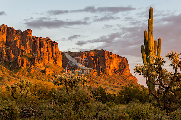 Superstition Mountain and Lost Dutchman State Park near Apache Junction, Arizona.  Sunset.